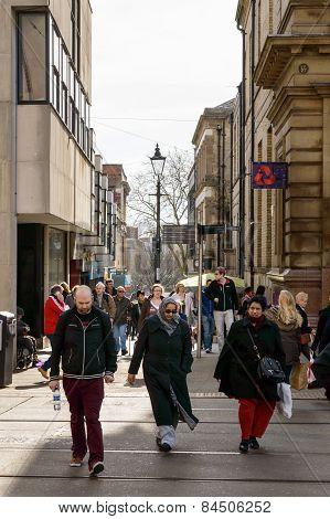 Nottingham busy shoppers Exchange Walk