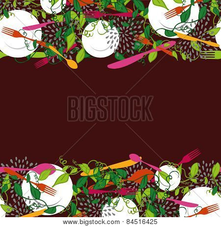 Food Restaurant Seamless Pattern Illustration