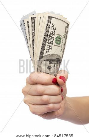 Woman Hand Holding Bundle Of Dollars Isolated Over White