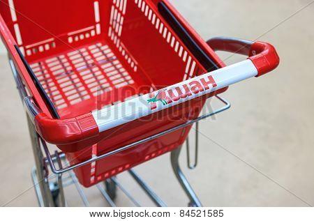 Empty Red Shopping Cart Auchan Store