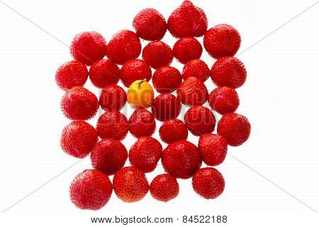 Single Kumquat In A Crowd Of Strawberry Fruits