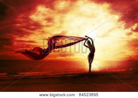 Sexy Woman Silhouette Over Red Sunset Sky, Sensual Female On Beach, Vacation Holiday Concept