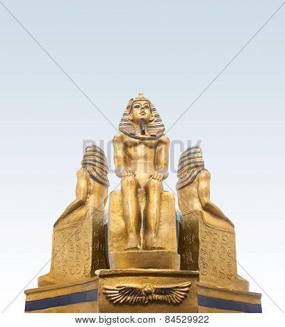 Pharaohs statuette closeup.