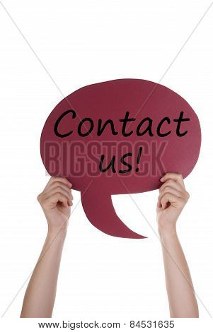 Red Speech Balloon With Contact Us