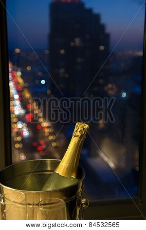 Celebrate! Champagne with Evening Cityscape