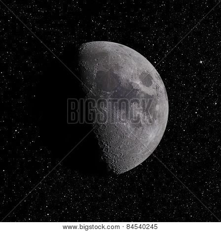 Moon on Star Background