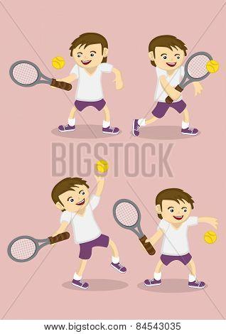 Boy Playing Tennis Vector Cartoon