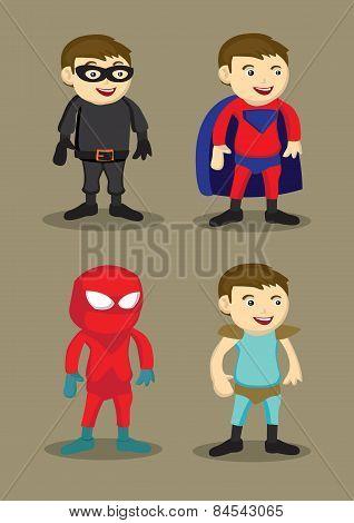 Super Hero Character Costumes Vector Illustration