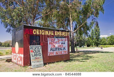 Canberra, Australia - December 18, 2014: Aboriginal Embassy In C