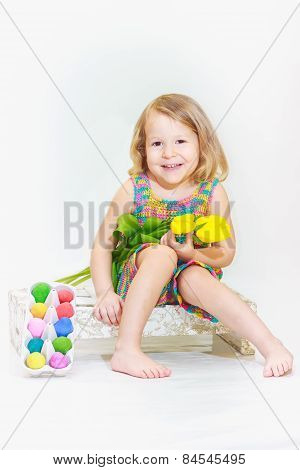 Laughing little girl in Eastertide