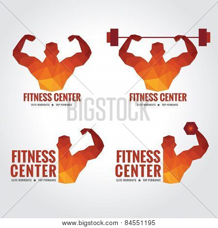 Fitness center logo low poly art design (Men's muscle strength and weight lifting) poster