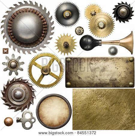 Screw heads, gears, textures and other metal details. poster