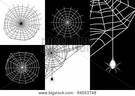 Vector cobweb or spider web silhouettes set