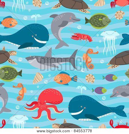 Sea creatures seamless background