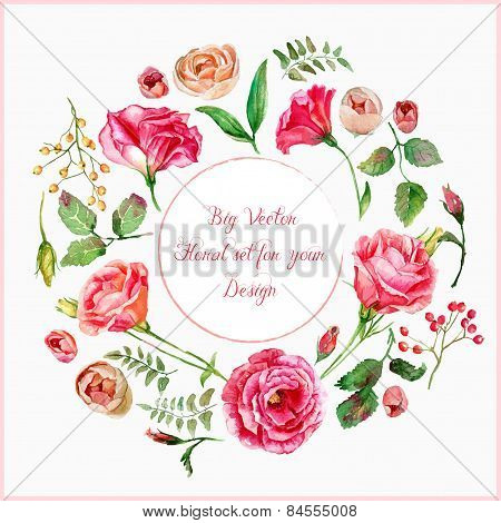 Vector Set Of Different Red, Pink Flowers For Design.