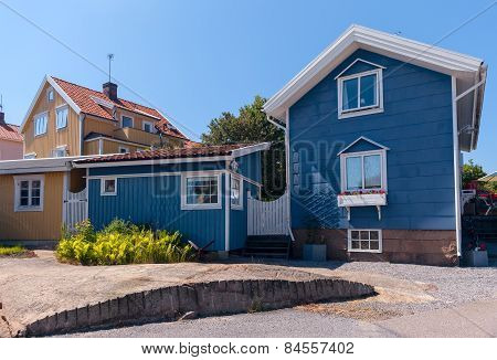 Colourful gables of the wooden sheds. Smogen, Sweden poster