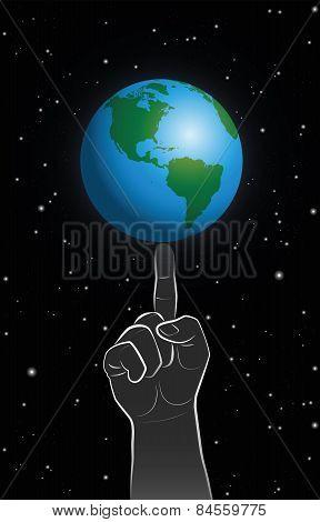 God Power Finger Planet Earth