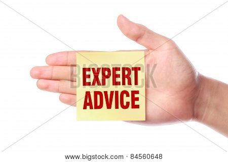 Hand with Expert advice sticky note is isolated on white background. poster