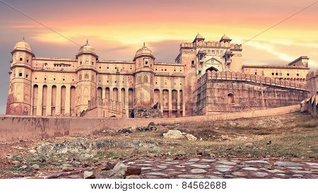 View of Amber fort at sunset, Jaipur, India, Rajasthan. Creative filter color affect poster