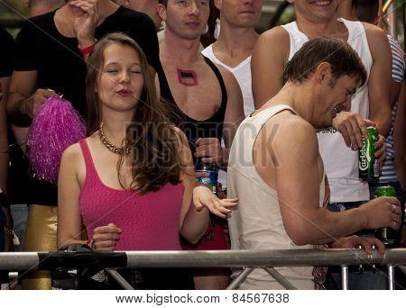 Elaborately Dressed Participant, Dancing During Gay Pride Parade
