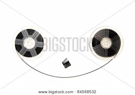 Vintage 8Mm Movie Reels And Little Clapper White Background