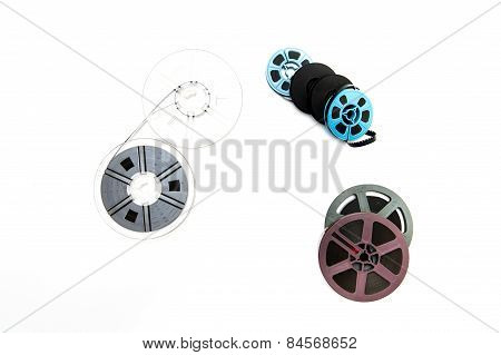 Group Of Vintage 8Mm  Reels On White Background