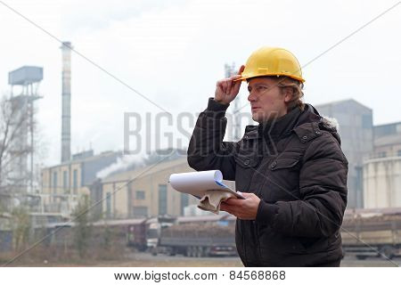 Industrial Worker With Clipboard