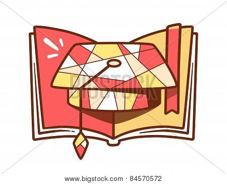 Vector Illustration Of Red And Yellow Graduation Cap And Open Book On Light Background.