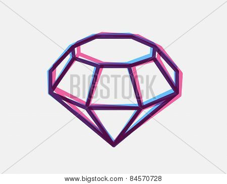 Vector Illustration Of Blue And Red 3D Anaglyph Style Diamond On White Background.