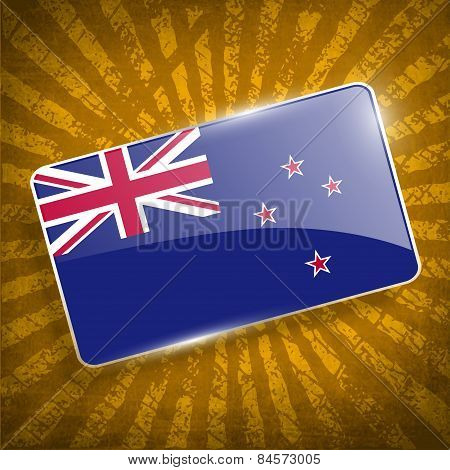 Flag Of New Zeland With Old Texture. Vector