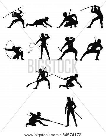 Ninja Silhouettes Set