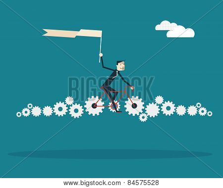 Businessman Riding Bicycle With Gears