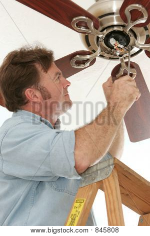 Electrician Installing Ceiling Fan