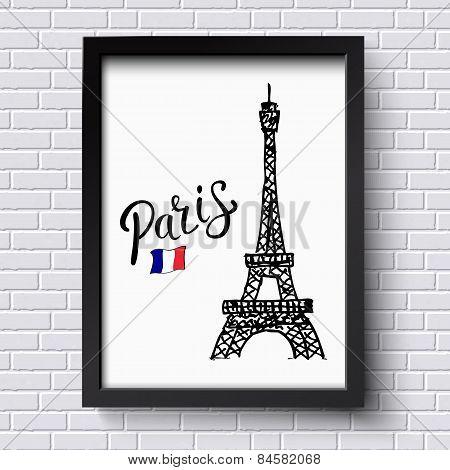 Tourism poster or card design for Paris