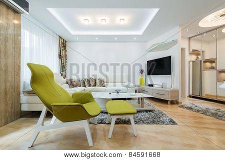Interior of a modern spacious living room