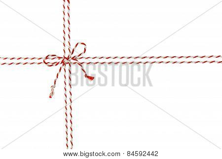 Rope Tied Bow Knot for White Envelope Package Red Ribbon Cord of Postal Mail Pack Seamless poster