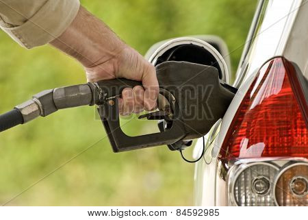 Hand Pumping Gasoline Or Fuel