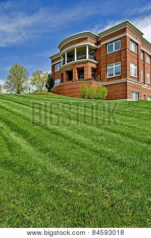 Neatly Mowed Lawn At City Hall
