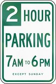 US road sign: Parking with time restrictions sign - Two hour parking California poster