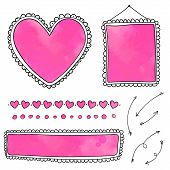 Set of hand drawn frames and heart dividers with pink watercolor textures. Doodle vector design elements isolated on white background. poster