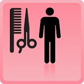 haircut or hair salon symbol. Vector illustration poster