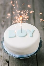 Celebration Cake For A Baby Boy With Sparkler