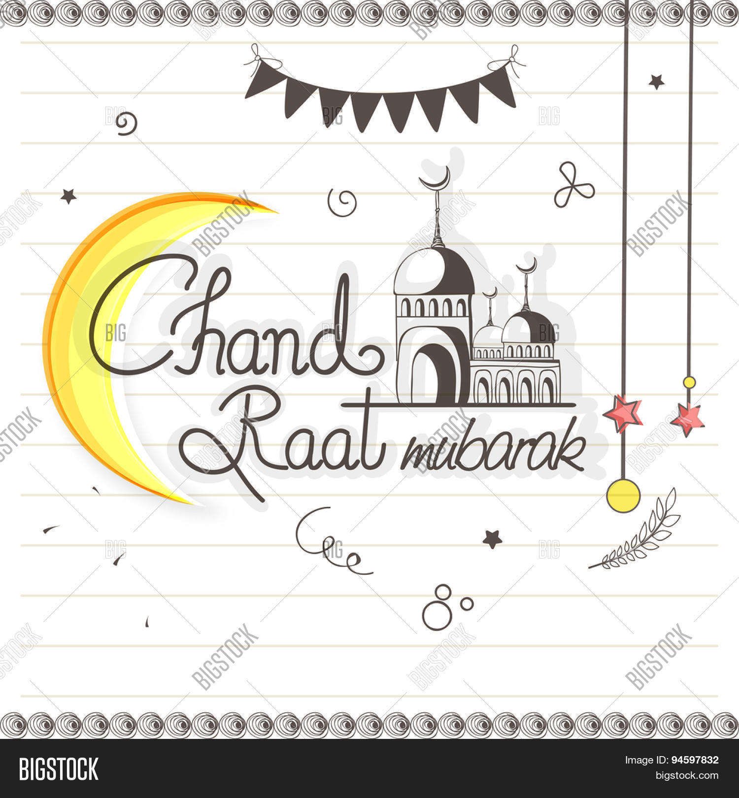 Stylish greeting card vector photo free trial bigstock stylish greeting card design with crescent moon and mosque on notebook paper background for islamic famous m4hsunfo
