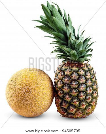 Fresh Whole Pineapple And Galia Melon Isolated On White Background
