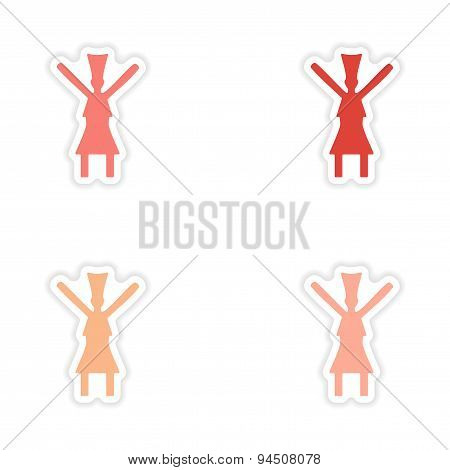 assembly realistic sticker design on paper traditional dance