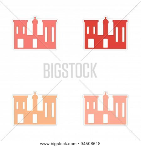 assembly realistic sticker design on paper palaces Egypt