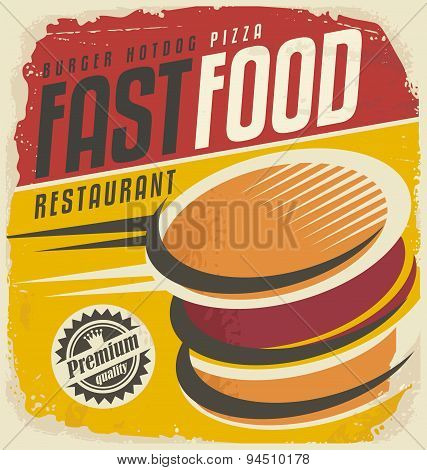 Retro fast food poster design.