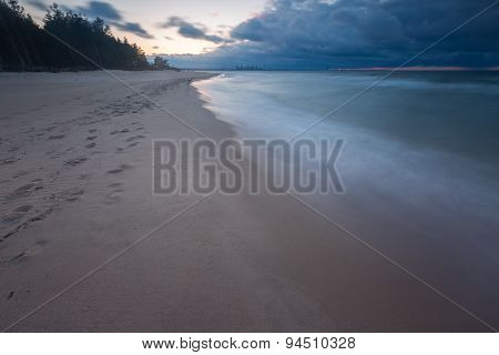 Beautiful seascape with Baltic sea shore after sunset. Gdansk Gorki Zachodnie area near Vistula river mouth. poster