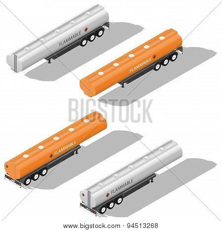 Semitrailer Tanks For Fuel Detailed Isometric Icon Set