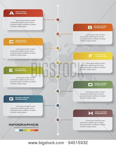 8 steps timeline infographic with global map background for business design
